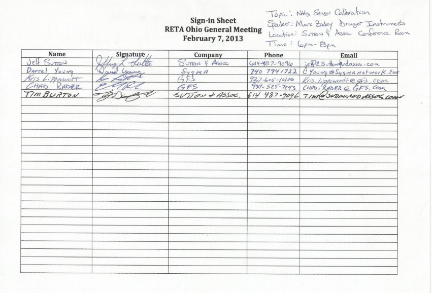 RETA-ohio - Meeting Sign In Sheets